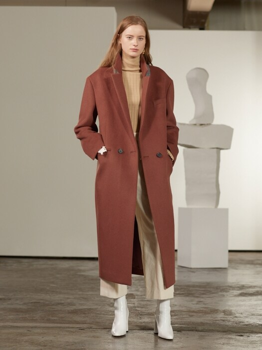 Roi Cashmere Blended Oversized Long Coat_Brick
