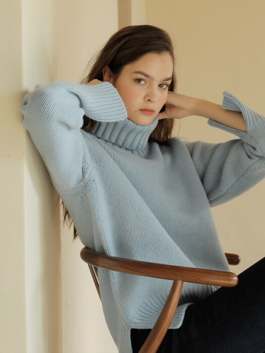 19FW CASHMERE PULLOVER /BLUE