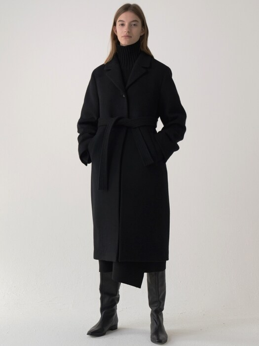 cashmere single coat (black)