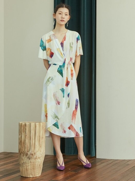 color brush wrap dress