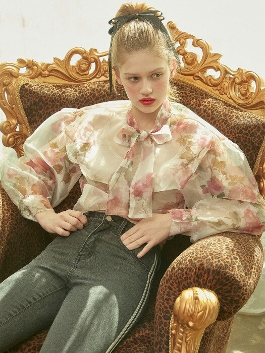 Rose Printed See-Through Blouse