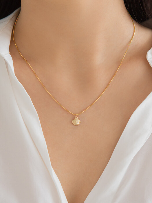 14k gf bead ball chain shell necklace (14k 골드필드)