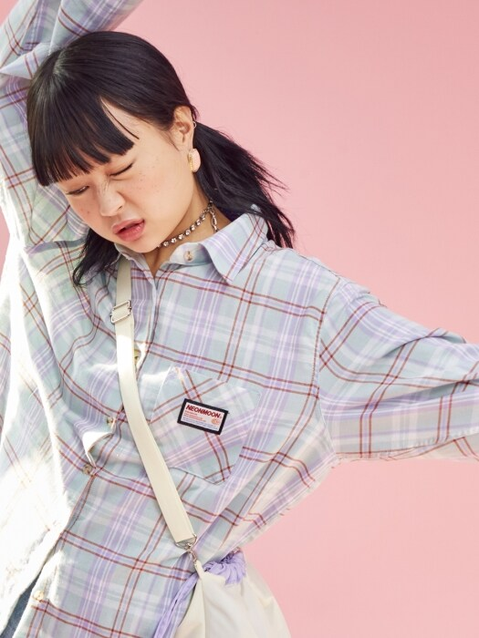 19SP Check Shirt MINT+PURPLE
