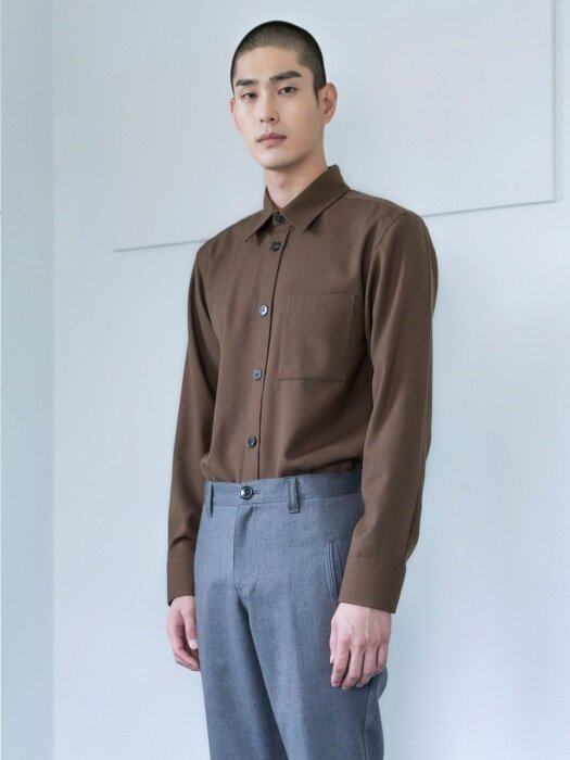 WOOL POCKET SHIRT(BROWN)