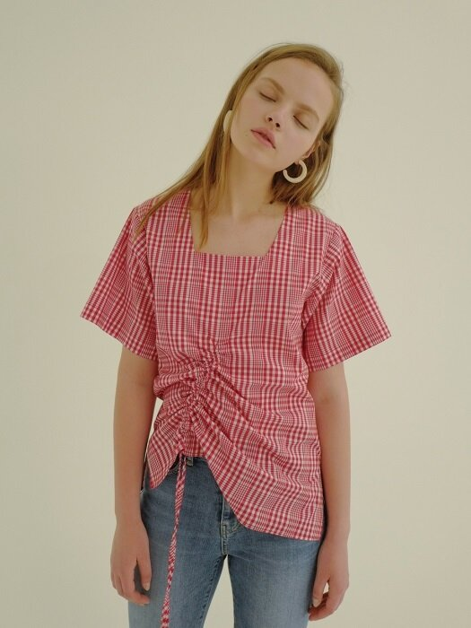 18ss unbalance shirring top red
