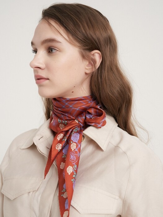 flower check silk scarf 3color