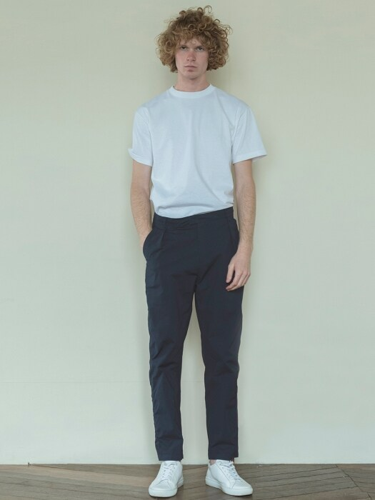 Navy Puckering Cotton Pants