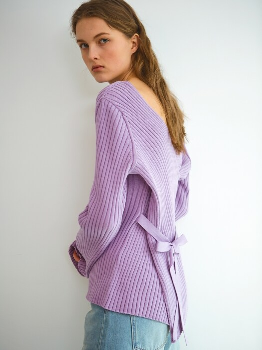 Cotton crossover knit, lavender