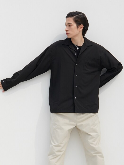 W Relax Open Collar Shirts Black