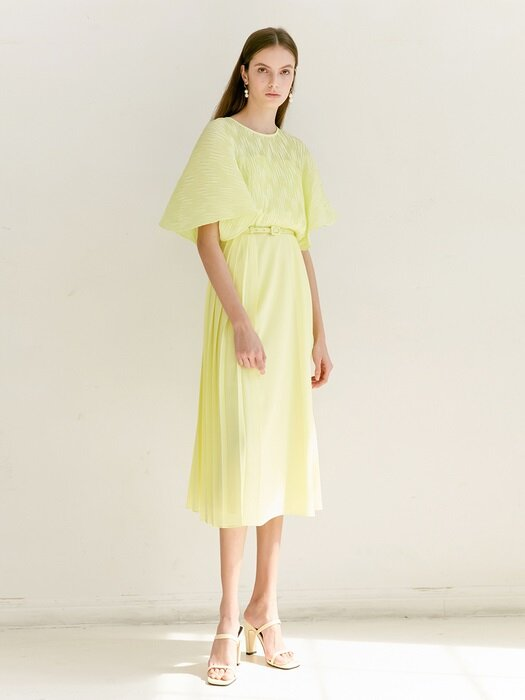 ELENA Pleated Cape detail midi dress (Lemon)