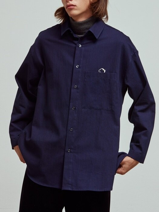 Long back slit shirts_Indigo