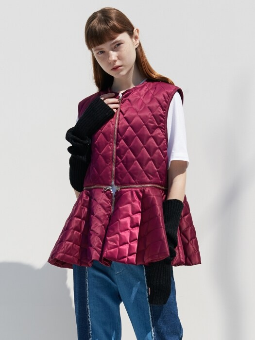 QUILTING FLARE VEST_PURPLE