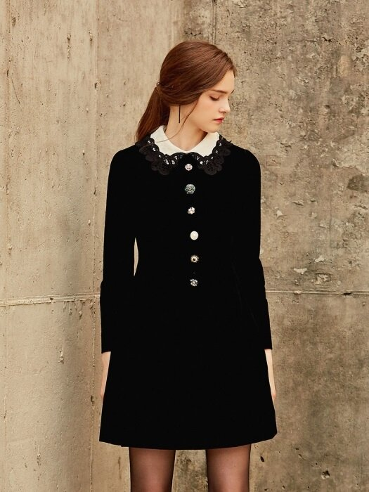 ABIGAIL / Jewel Button Velvet Dress
