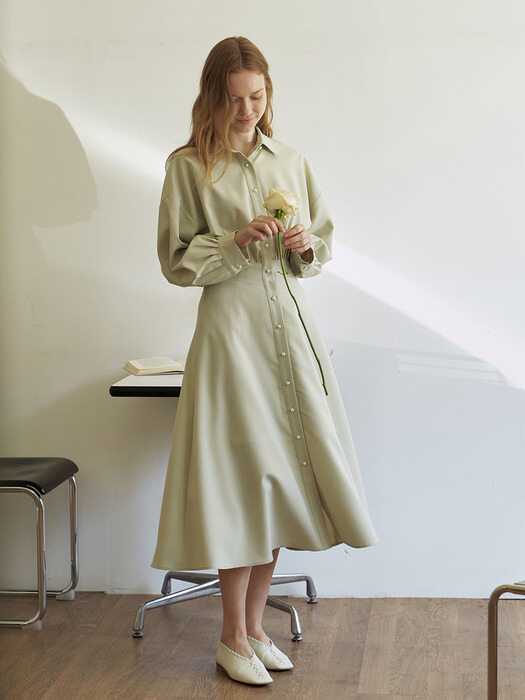 Pearl Button Robe Dress_Baby Mint