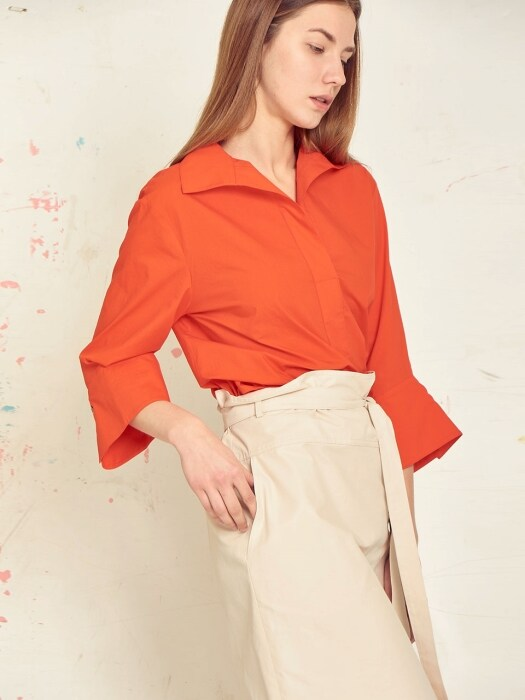 wing collar blouse[white/orange/navy]