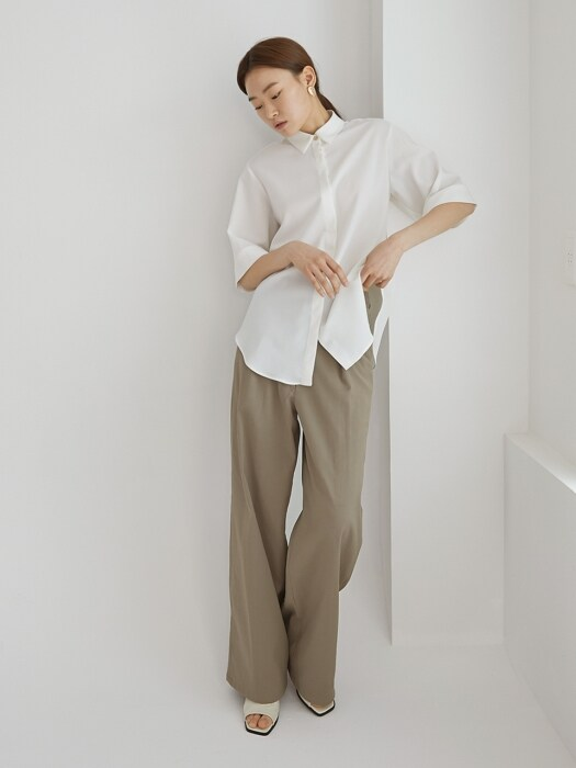 Linen straight pants_Khaki