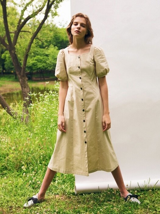Puff sleeve linen dress