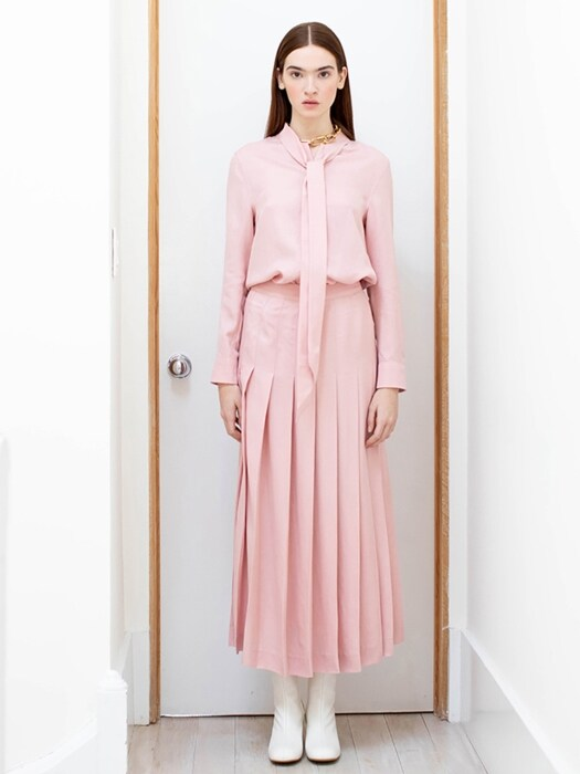 VENICE pleated long skirt(Baby pink)