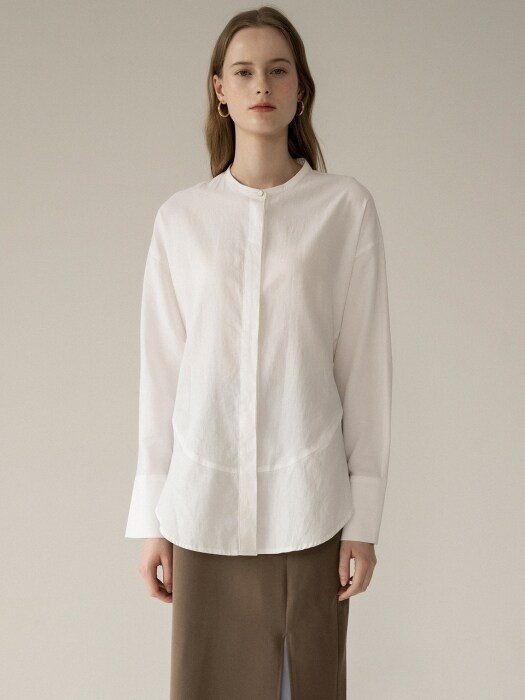 comos'239 band collar dolman sleeve blouse (white)