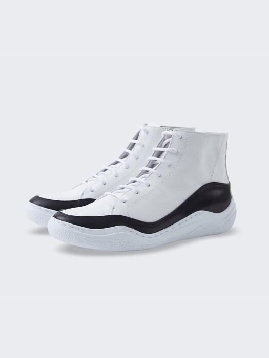 [MEN] Wave High Sneakers_1033 white/black