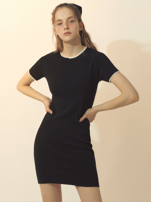 [BREEZE] Line Point Knit Dress_BLACK (CTD1)
