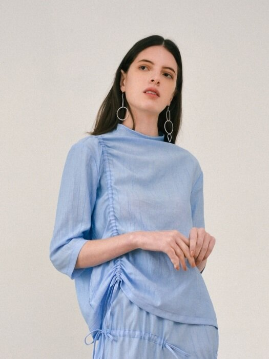 Shirring Blouse - Blue