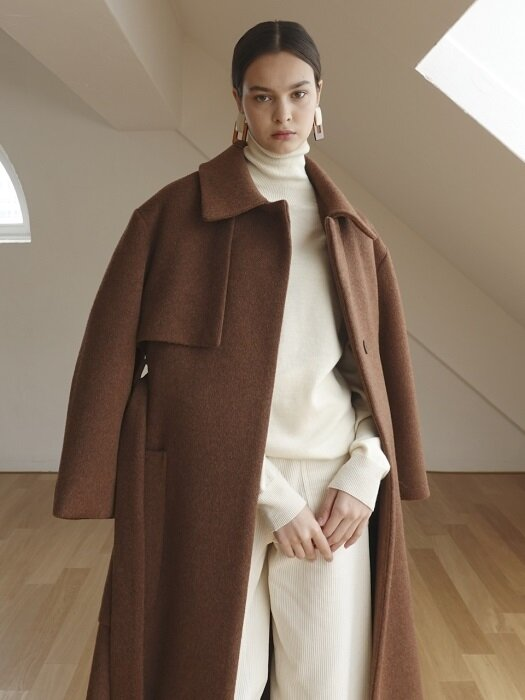 VOLUME LINE OVER TRENCH COAT_BROWN