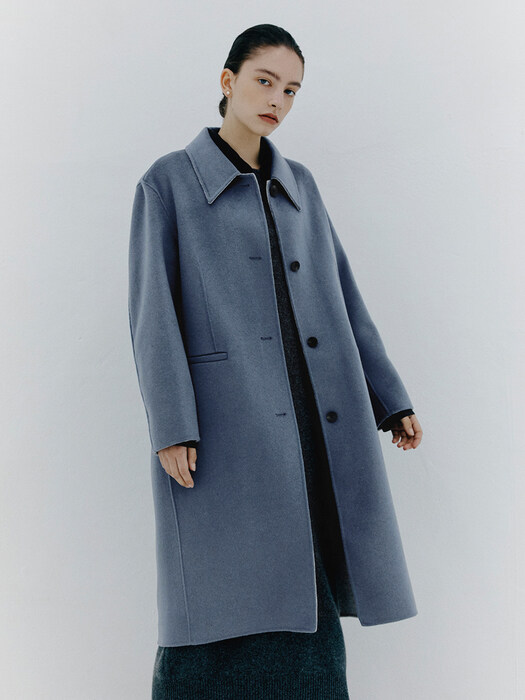 Handmade Hooded Coat_SMOKE BLUE