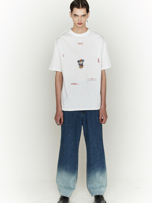 [ ORDINARYPEOPLE & DISNEY ] SEA ROBBER MICKEY WHITE T-SHIRTS