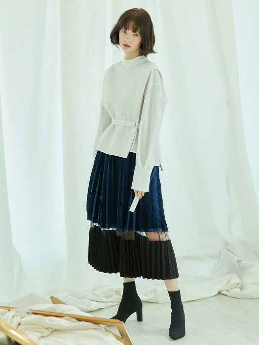 velvet pleats skirt Blue