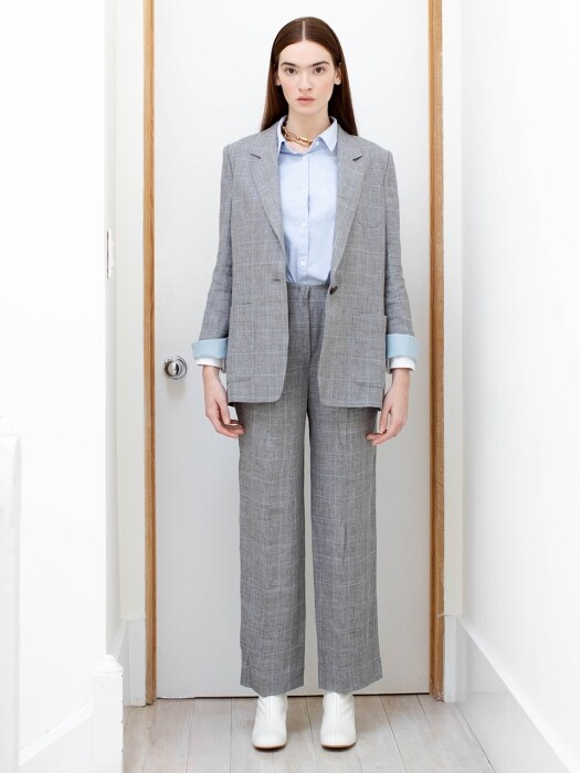 GRAMACY high waisted flared trousers (Gray window check)
