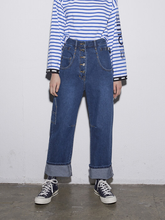 New Blue Utility high- Rise Denim Pants