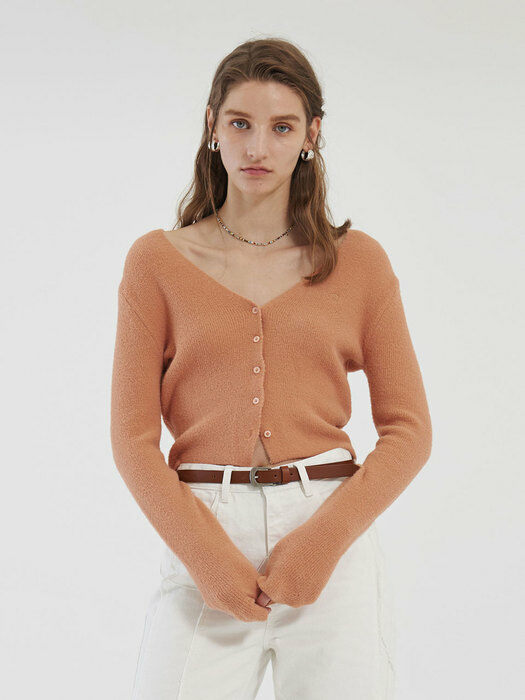 SOFT CROP KNIT CARDIGAN (coral)