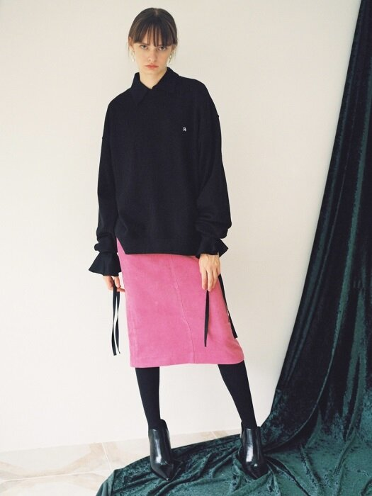 18fw corduroy pencil pocket skirt pink
