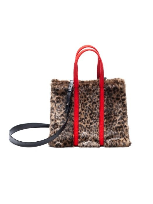 tashiana no.9 small tote bag leopard echo fur