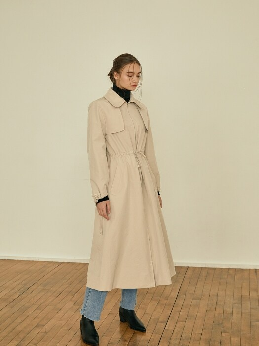 Latte string trench coat[beige]
