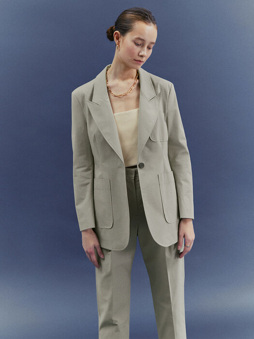 [Classy Cotton] One-Button Blazer + Tapered Trousers SET