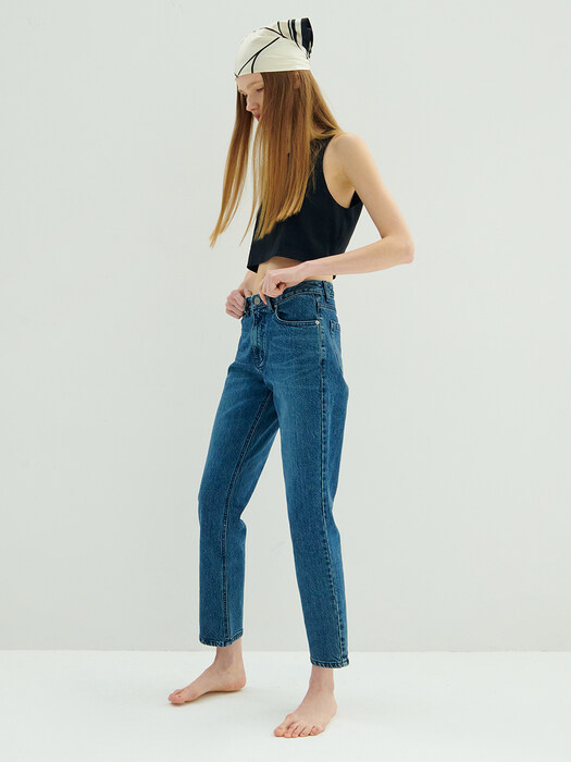 Mid-rise Straight Jeans_D.blue