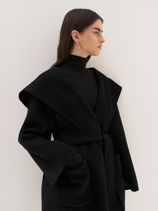 CASHMERE HOODED HALF COAT [HAND MADE] BLACK