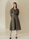 LYANA Wide notched collar puffed sleeve A-line dress (Melange gray)