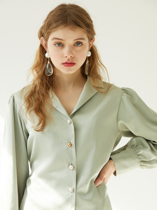 puff sleeve button p olive blouse