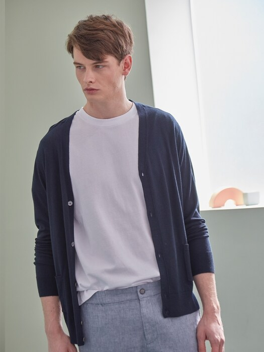 BASIC CASHMERE V-CARDIGAN (NAVY)