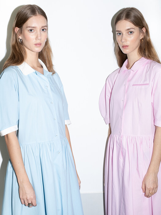[20SS] MELROSE round collar over sized shirt dress (Sky blue/Candy pink)