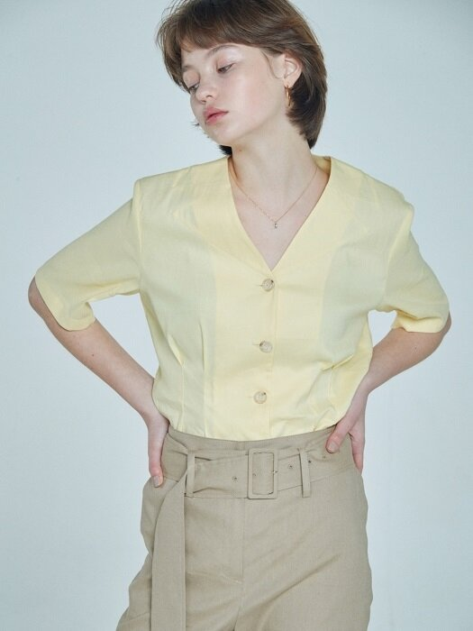 cutting collar blouse Yellow
