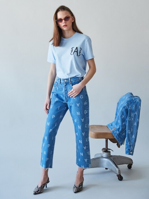 WORD DENIM PANTS
