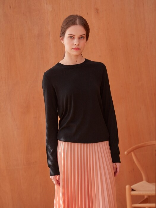 BASIC CASHMERE C- NECK KNIT (BLACK)