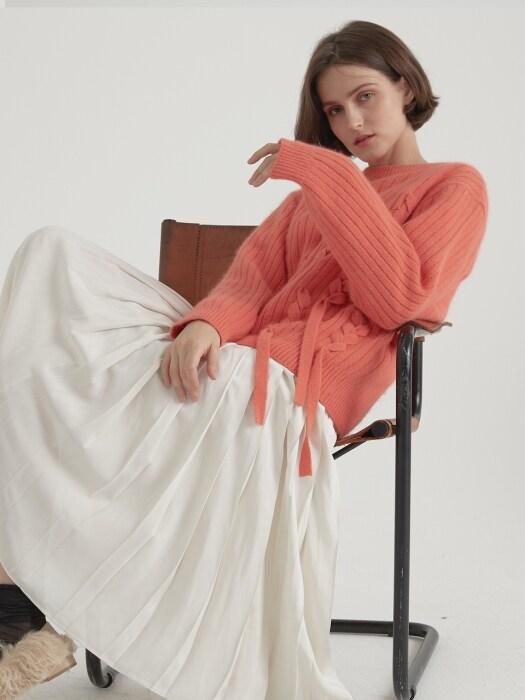 Angora Taped Knitwear - Salmon pink