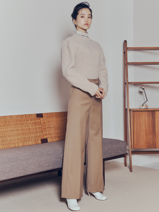 [Thermal Pants Collection] Wool-blend Wide-leg Trousers