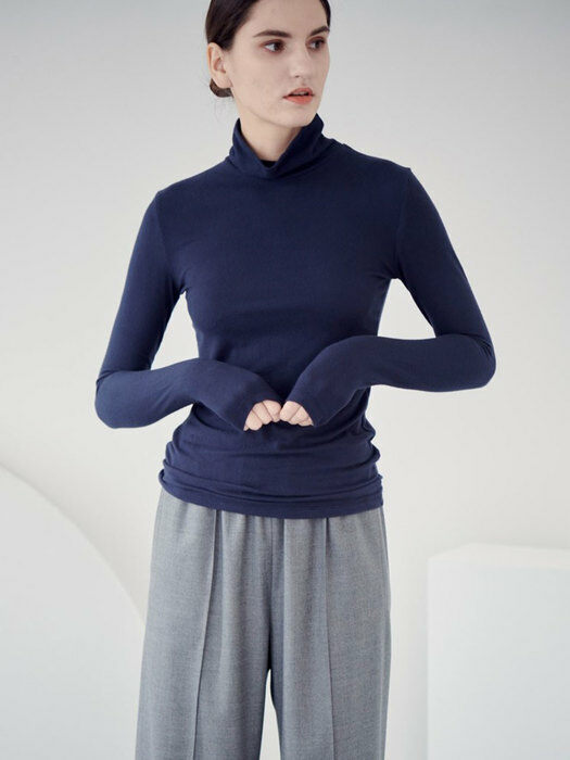 FLUFFY TURTLE NECK T-SHIRT_NAVY