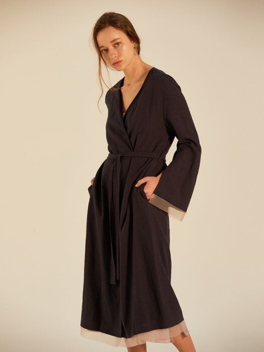 LINEN RAW EDGE ORGANGA DETAILED ROBE_NAVY